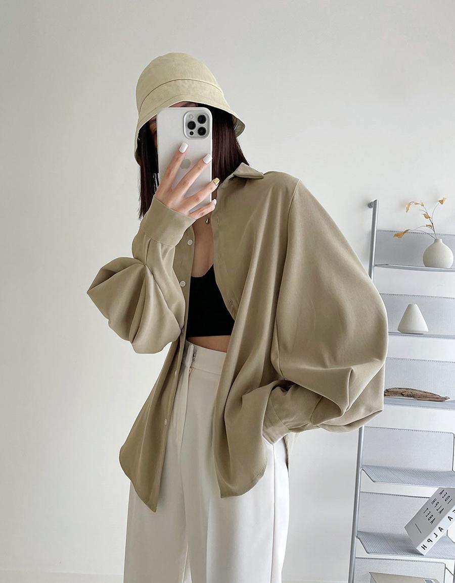 壓褶澎袖細絨襯衫*3色