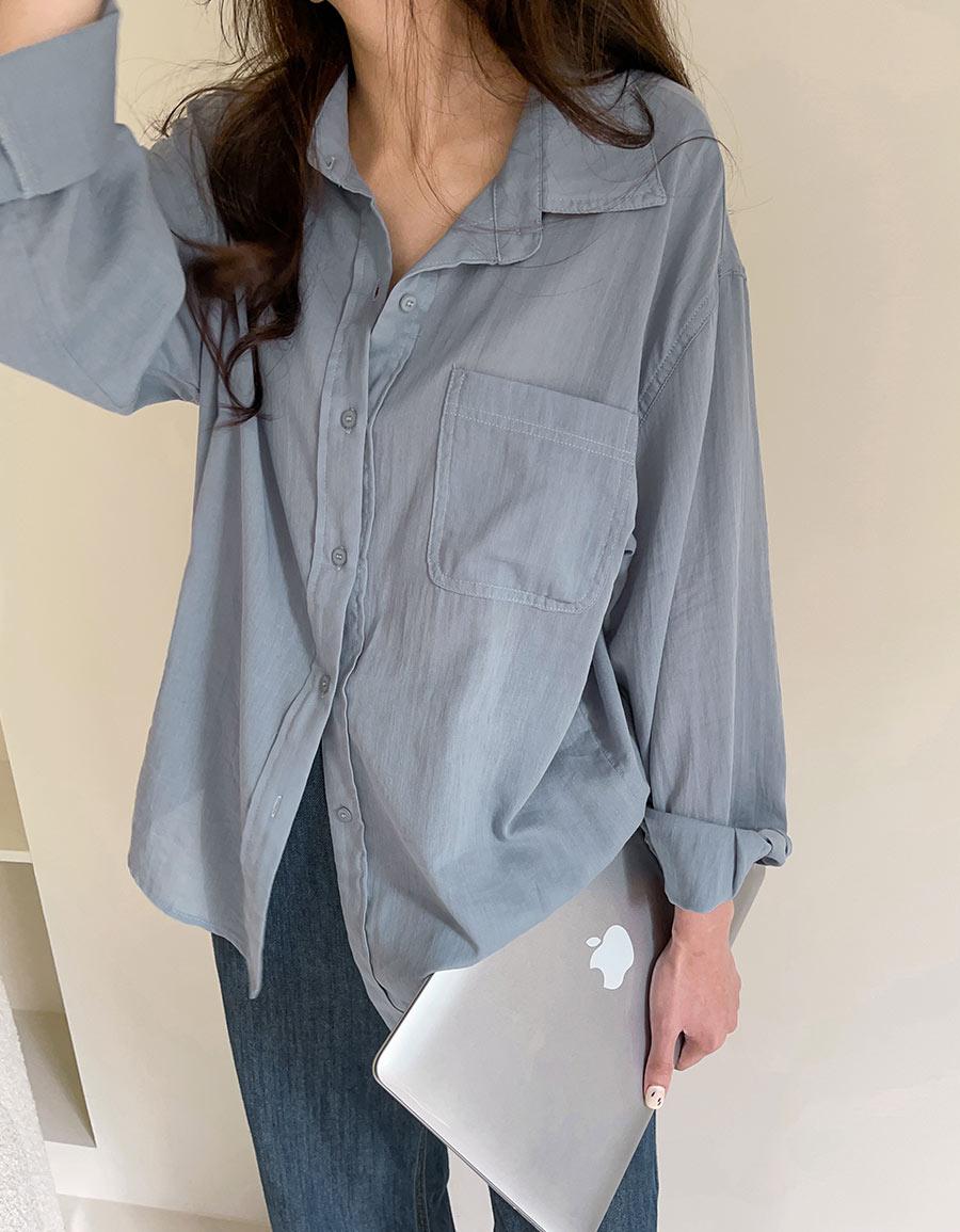 薄透軟料後壓褶襯衫*3色