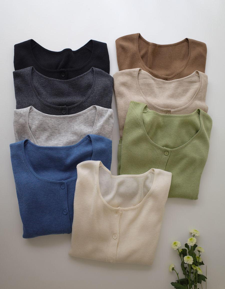 小圓釦柔軟針織上衣*8色