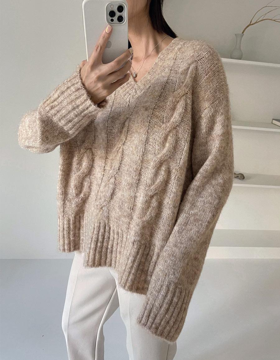 V領麻花超軟毛衣*4色