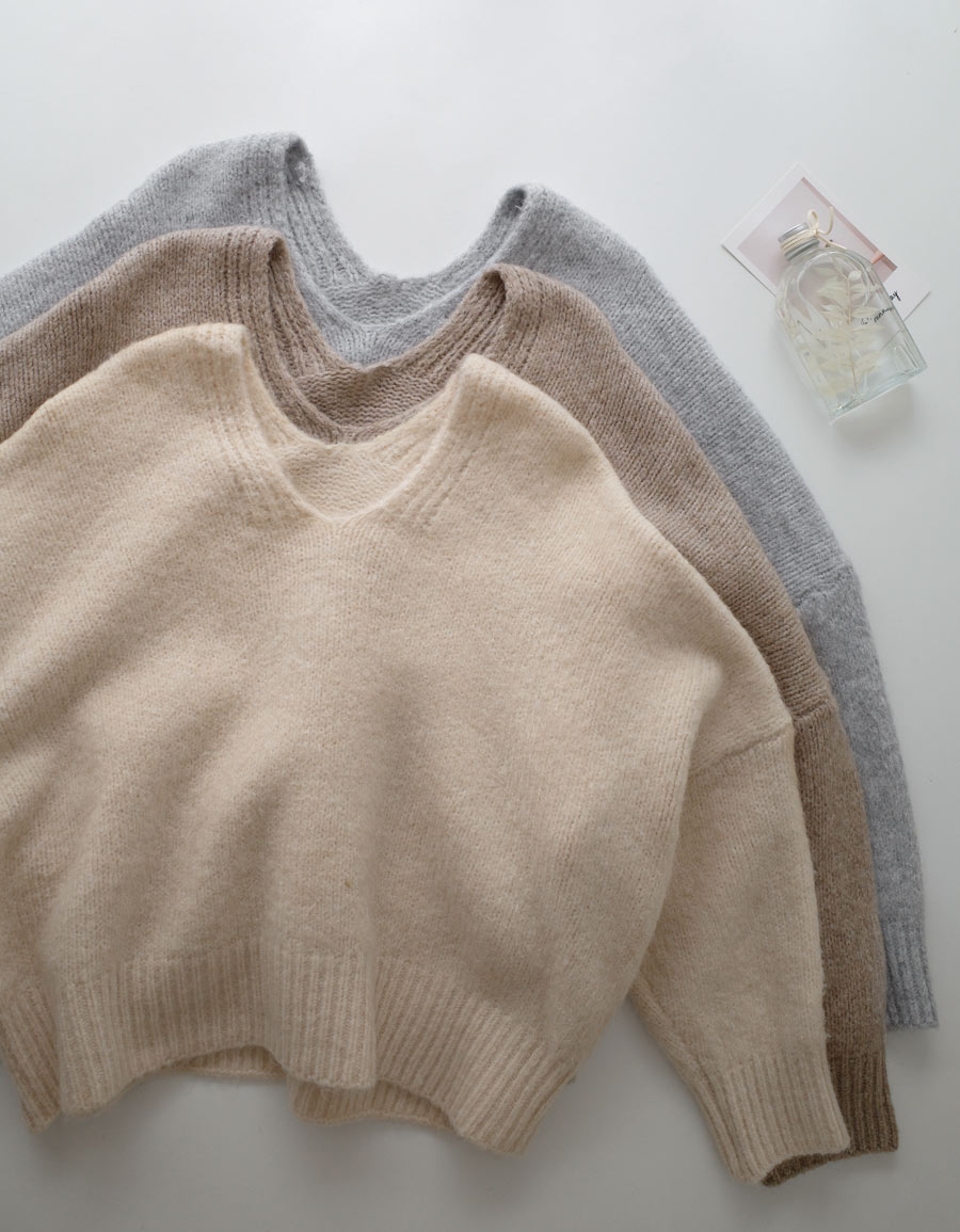 V領落肩短版毛衣*3色