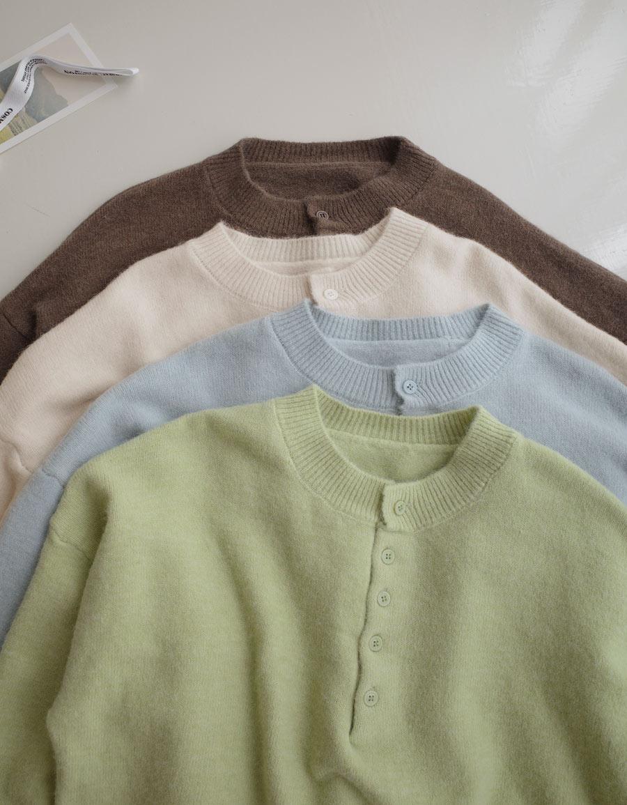 紮實感小排釦圓領毛衣*4色