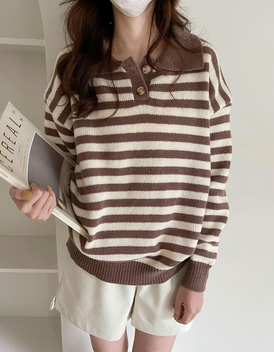 翻領配色條紋毛衣*2色