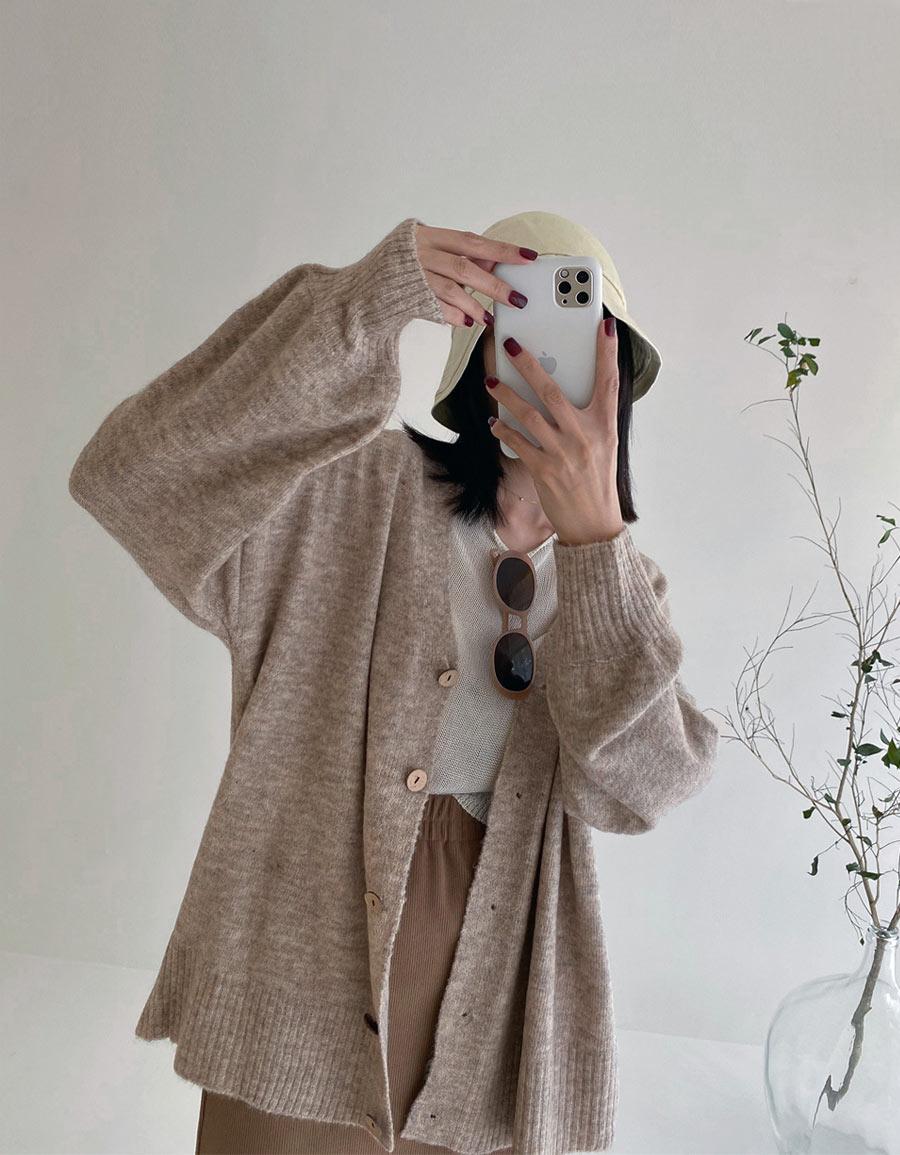 柔軟縮口澎袖毛衣外套*5色