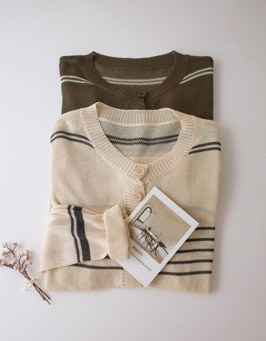條紋排釦薄針織外套*2色