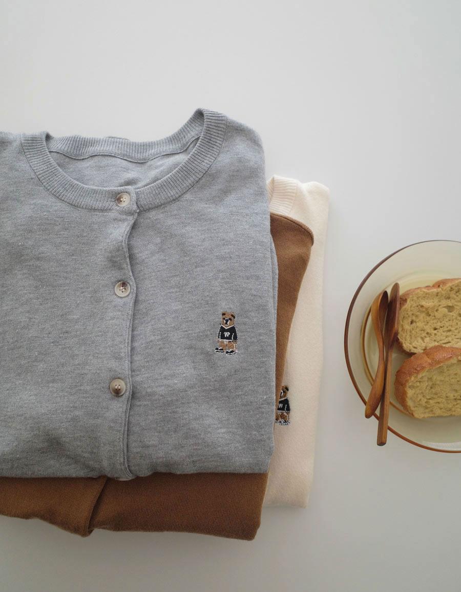 小熊刺繡針織外套*4色