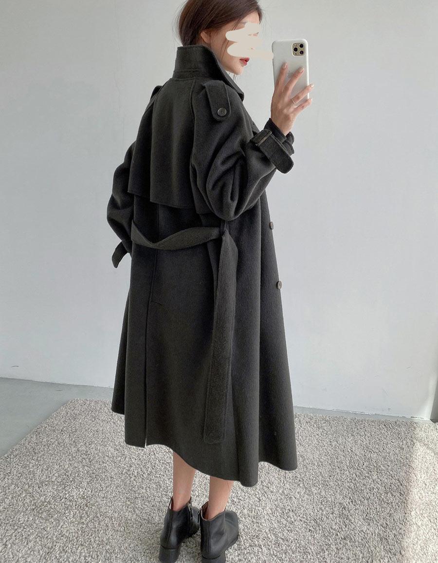 風衣式毛呢長大衣*2色