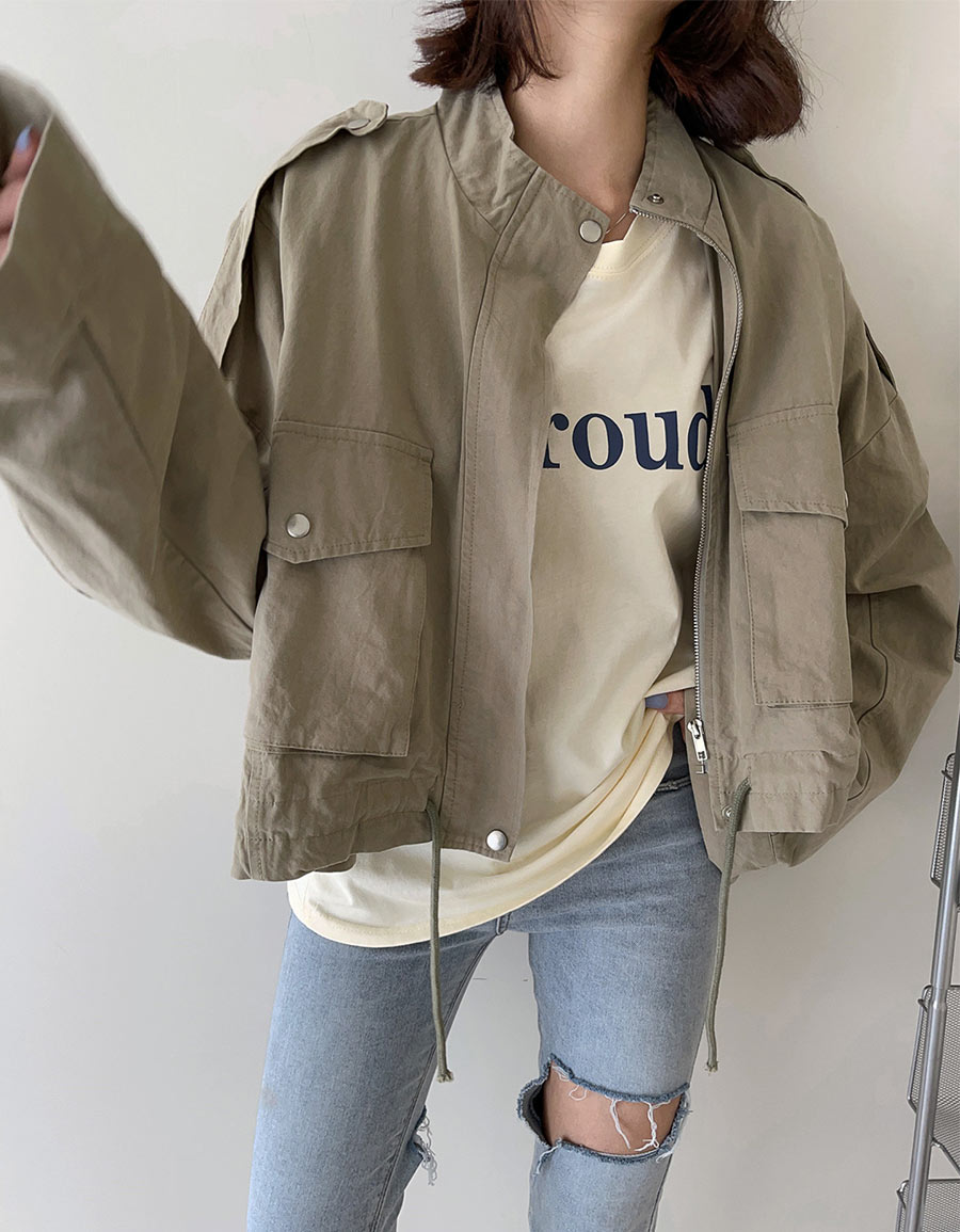 工裝立領短版外套*3色