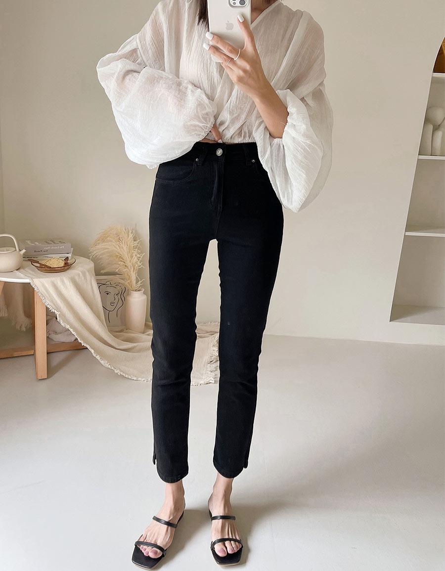 小開衩直筒牛仔褲*2色