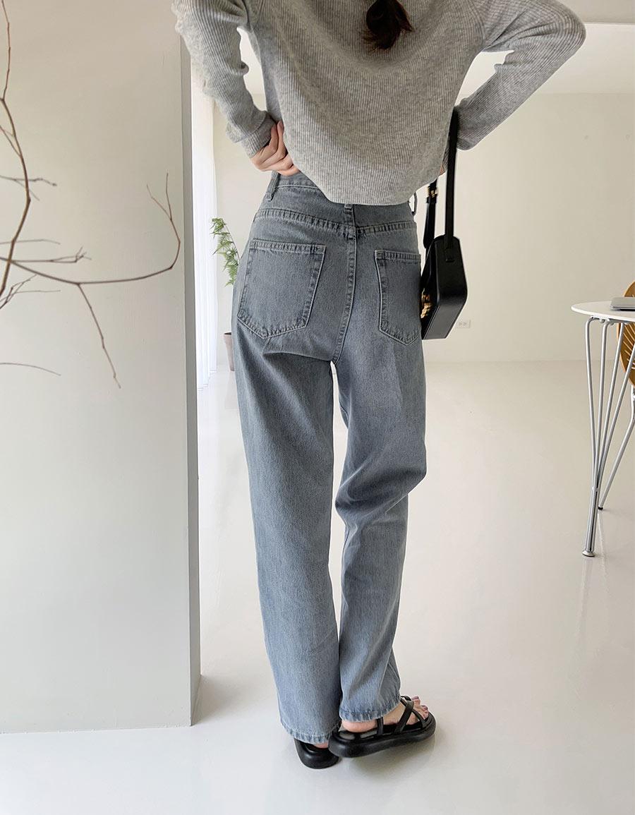 水洗刷色直筒牛仔褲*1色