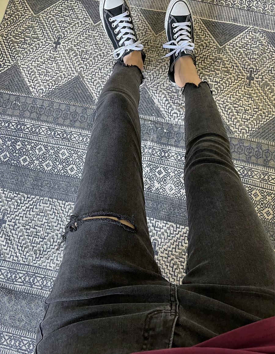 側刷破彈性黑褲*1色