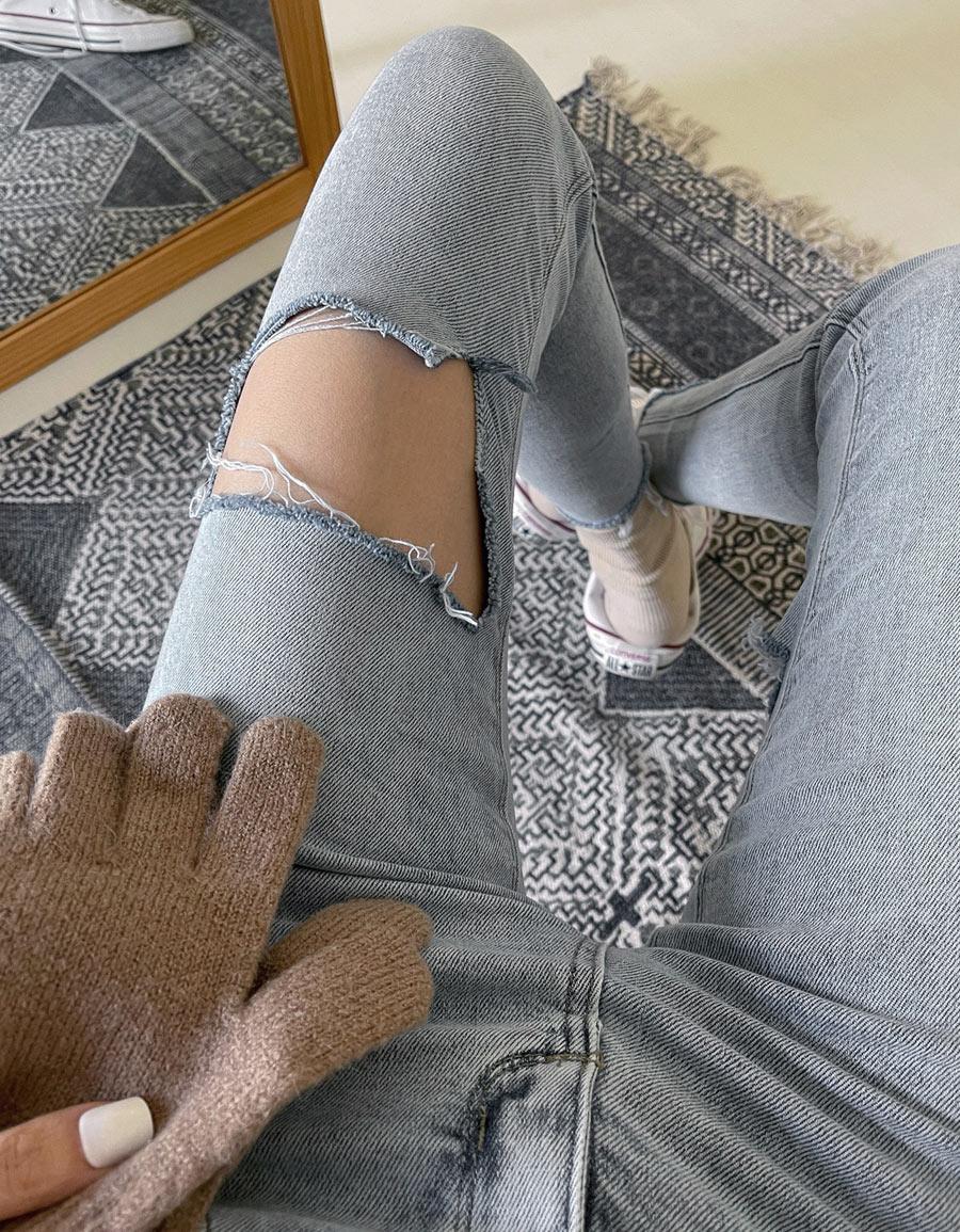 前後破損窄管牛仔褲*1色
