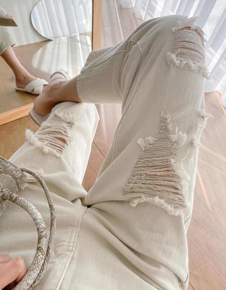 小寬鬆率性刷破奶油褲*1色