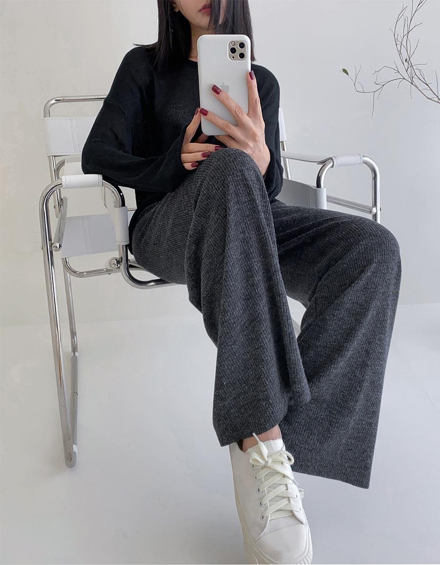 直織紋針織寬褲*4色