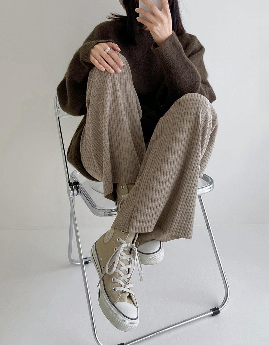 細磨毛坑紋針織寬褲*4色
