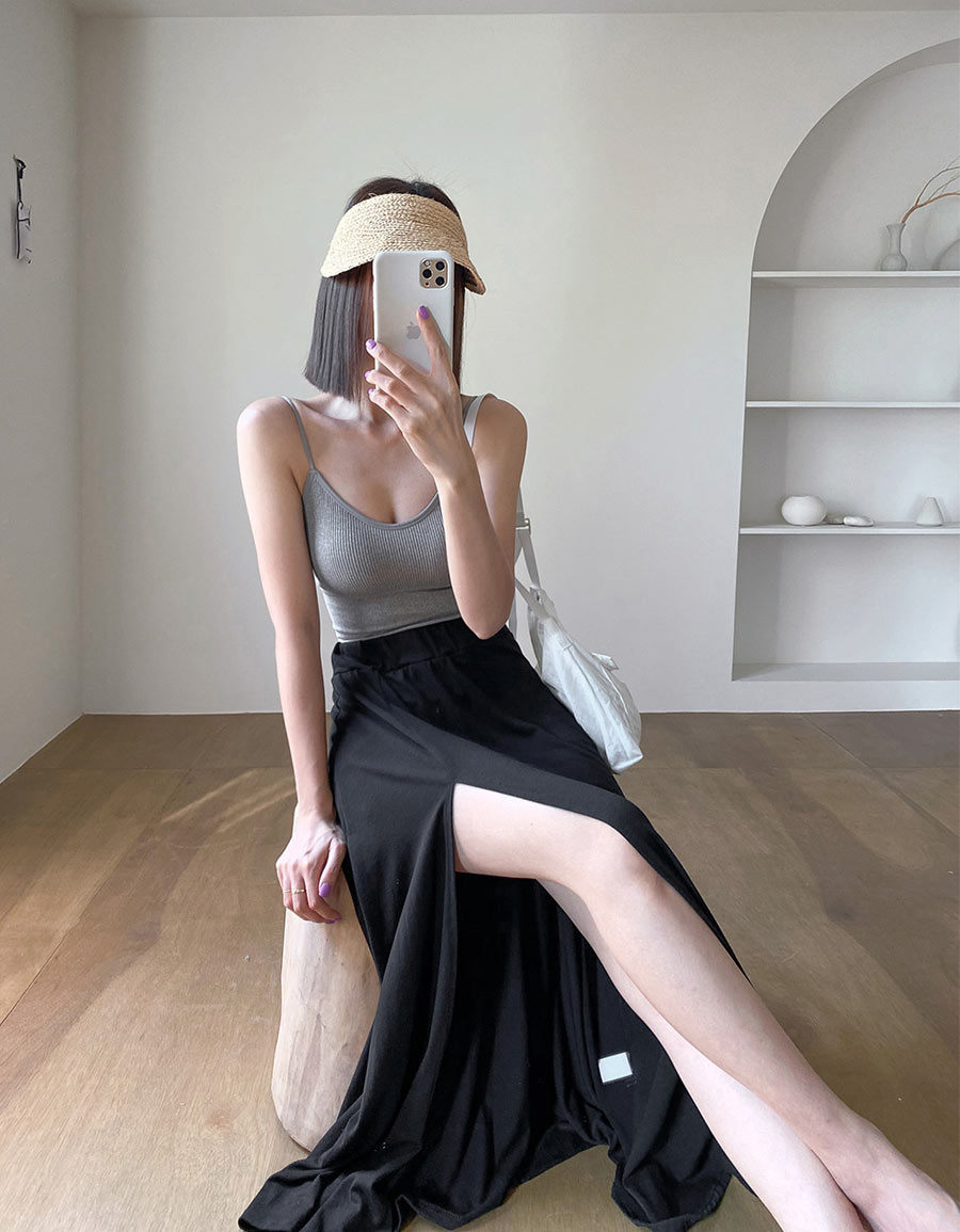 正韓 內短褲高衩長裙*2色