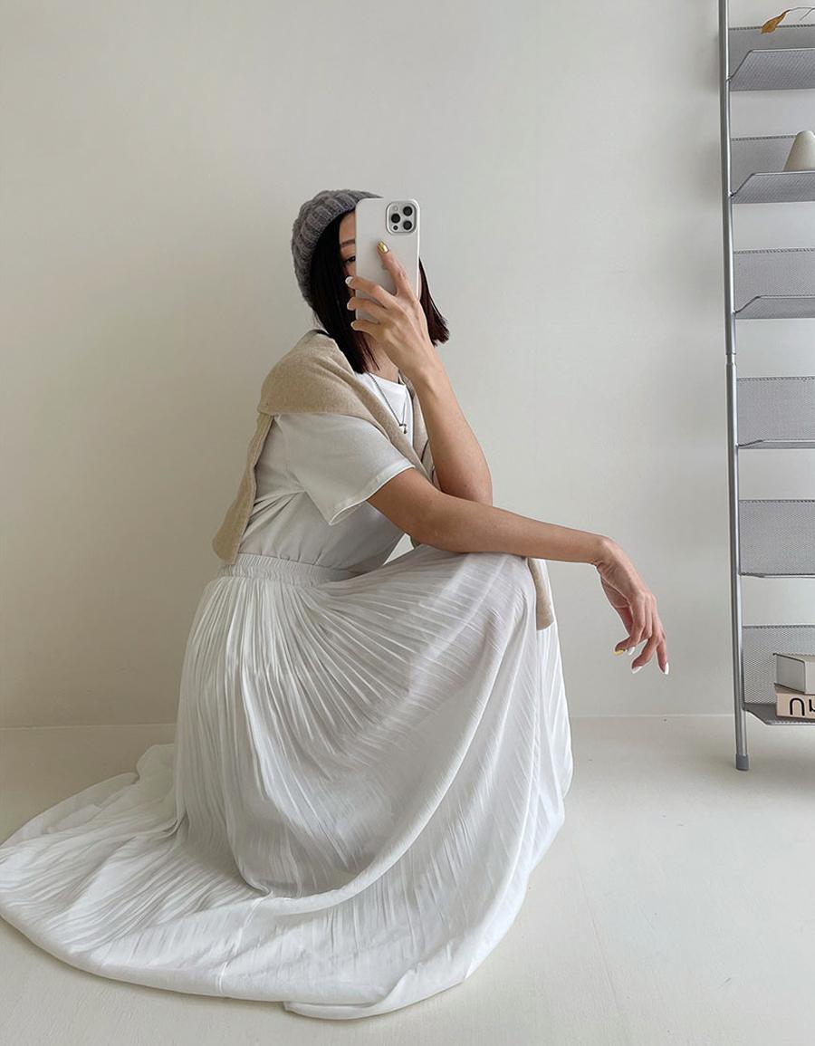 壓褶雪紡長裙*3色