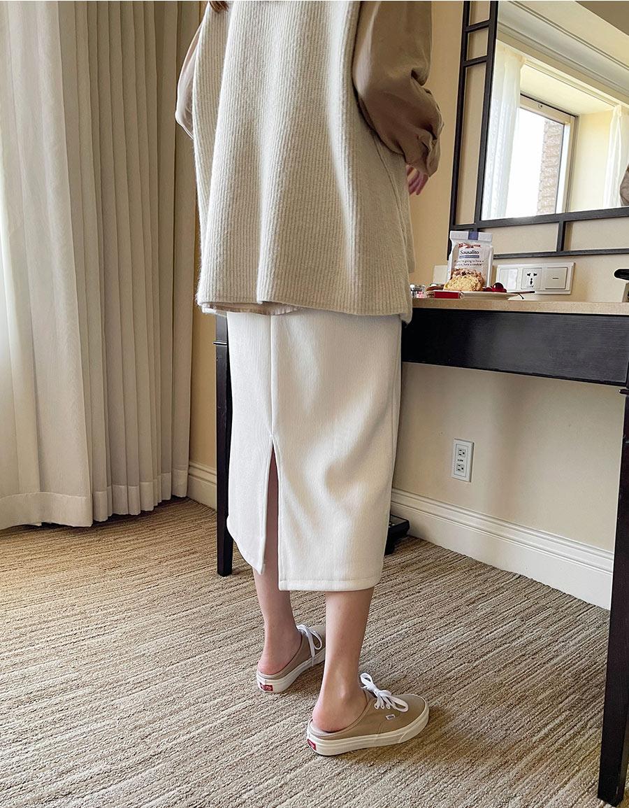 細壓紋絨質開衩中裙*4色