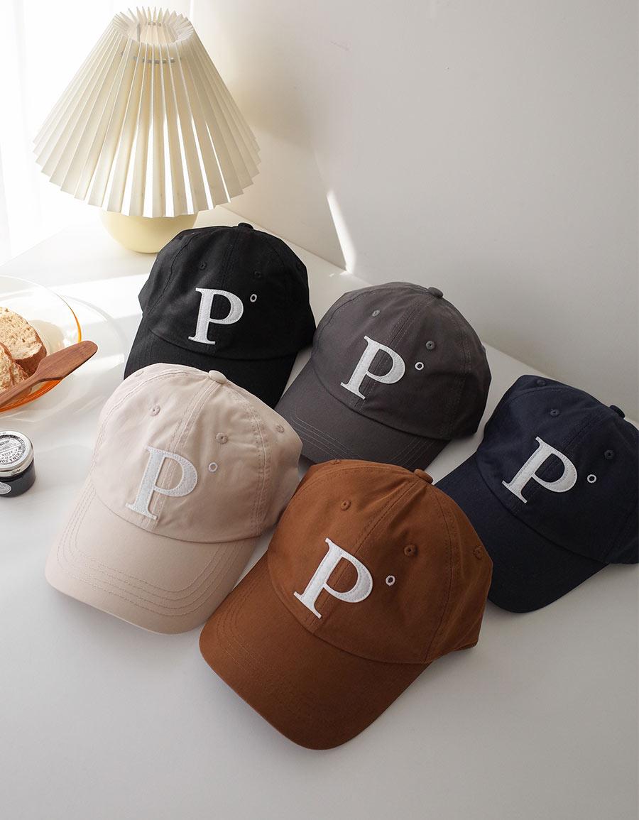 P字刺繡貼布棒球帽*5色