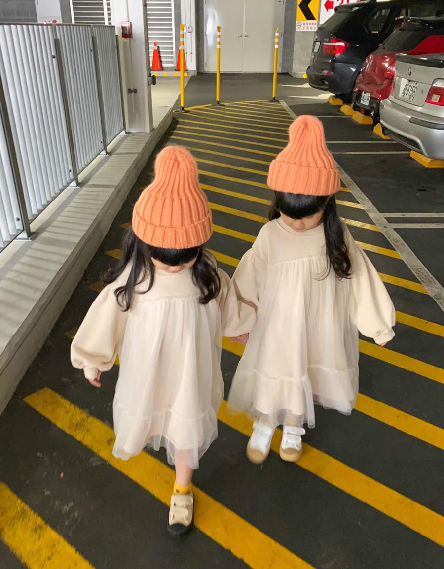 KIDS 女童拼接網紗長袖洋裝*1色